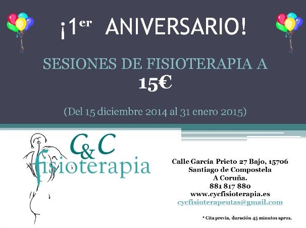 Tratamientos de fisioterapia a 15 euros por nuestro primer aniversario