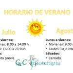 Horario Verano CyC Fisioterapia Santiago 2017