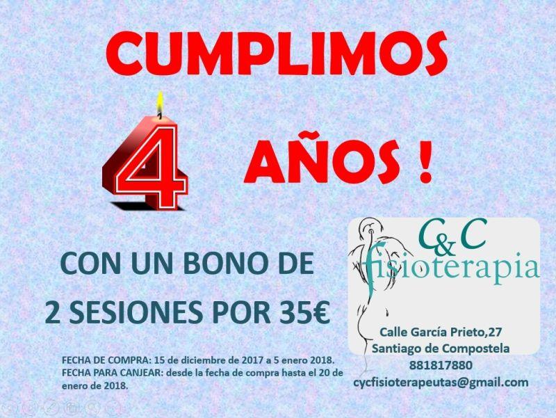 Bono fisioterapia Aniversario CyC Fisioterapia Santiago